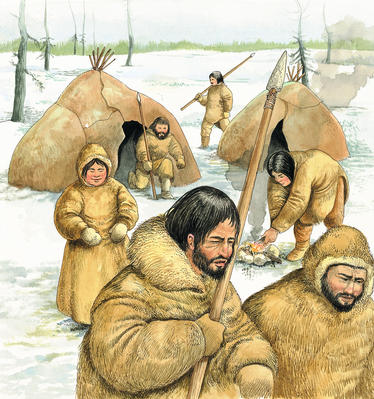 Animal skin clothing early humans